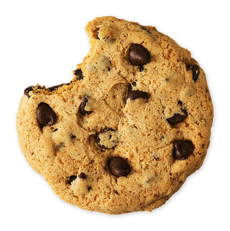 Chocolate chip cookie with a bite mark