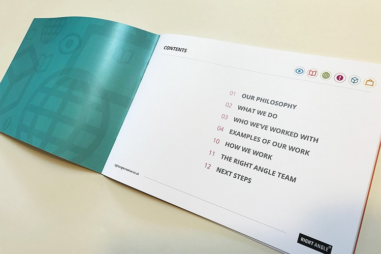 An open spread of the Right Angle Creative agency credentials brochure