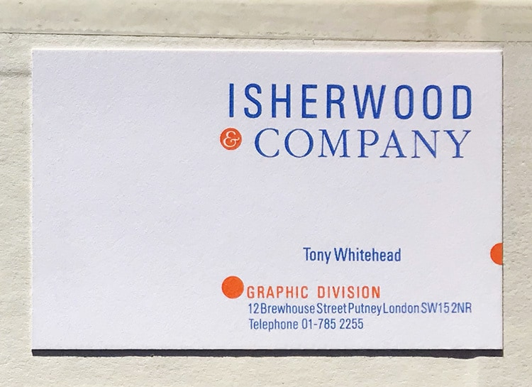 Isherwood front business card design
