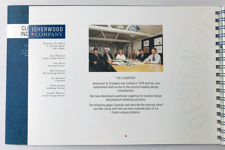 Isherwood Brochure spread about the company wiro bound
