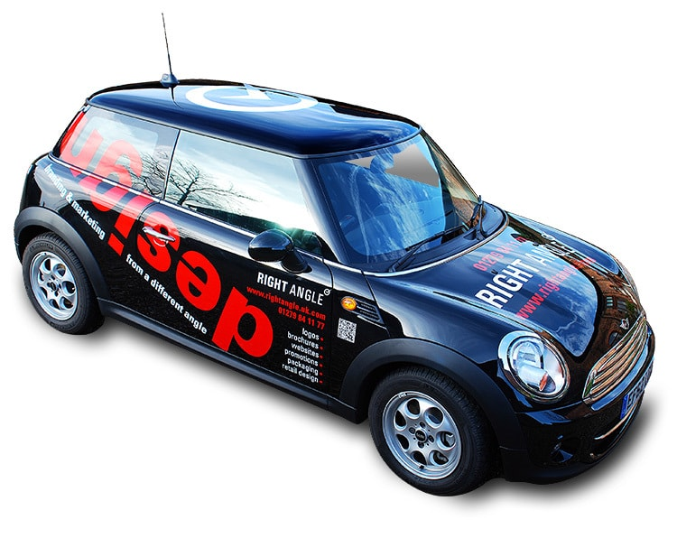 Right Angle Creative brand mobile mini cooper with vinyl