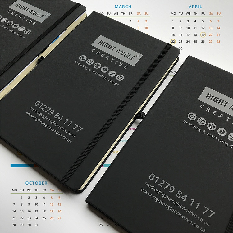 Close up of Right Angle Creative branded notebooks