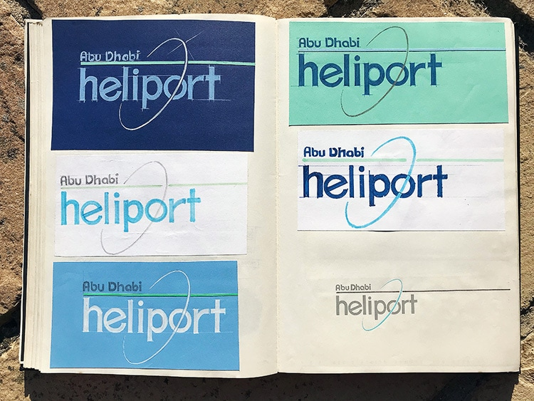 Abu Dhabi Heliport hand drawn branding design