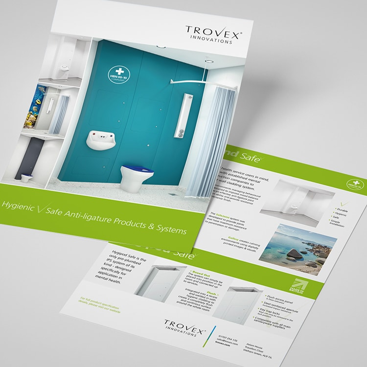 Hygienic leaflet design for Trovex Innovations