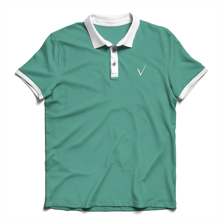 Green polo shirt with Trovex Innovations tick on chest