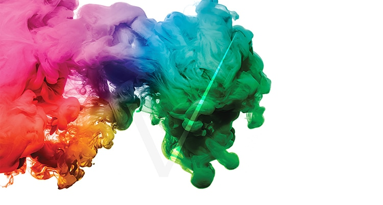 Coloured ink splash with Trovex Innovations tick overlay for sample book print design