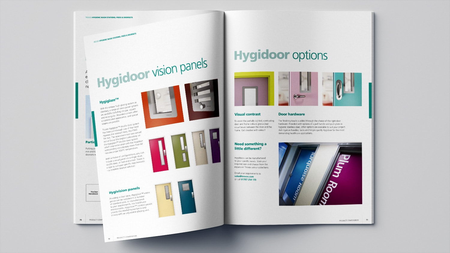 Hygienic compendium brochure print design for Trovex Innovations