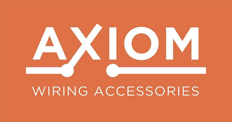 Axiom logo design orange background for CED