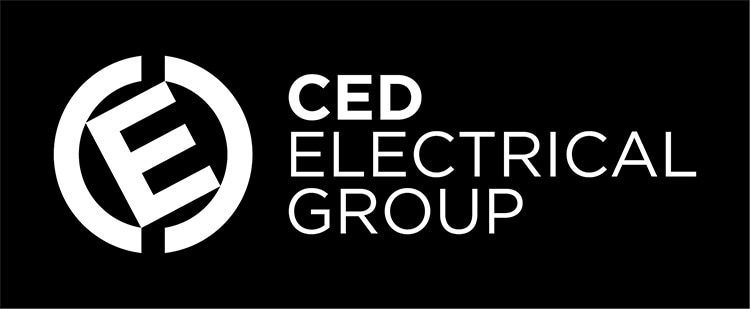 CED logo design in black blackground