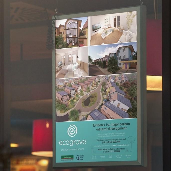 Window card print design showcasing Ecogrove property
