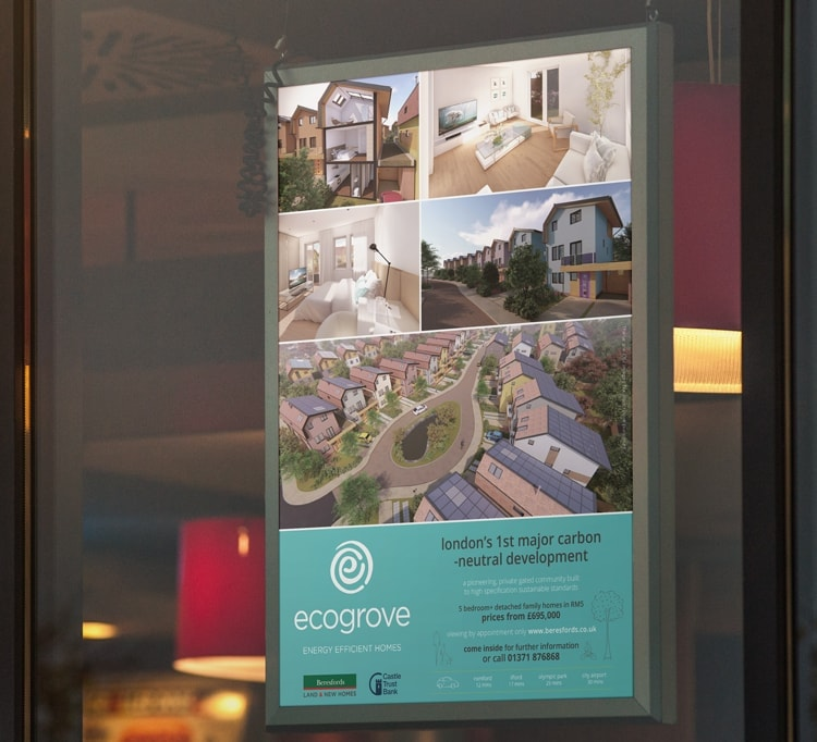 Window card print design showcasing Ecogrove property