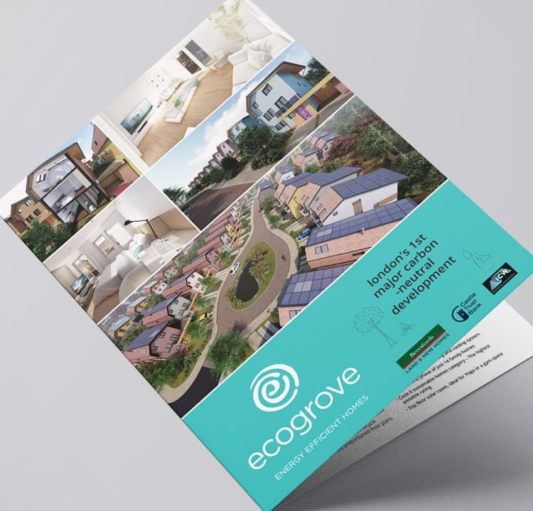Front cover print design Ecogrove A4 brochure