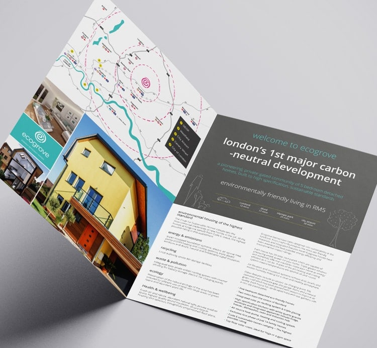 Ecogrove A4 brochure spreads print design