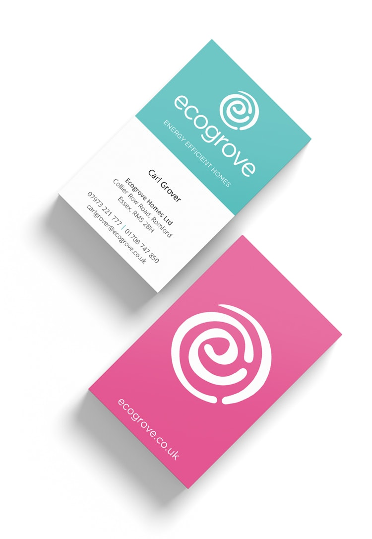 Front & Back designs of Ecogrove business cards