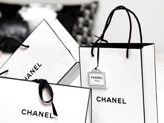 White Chanel shopping bags