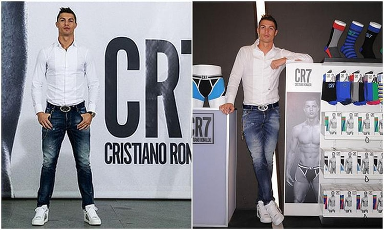 Ronaldo standing infront his Men underwear launch