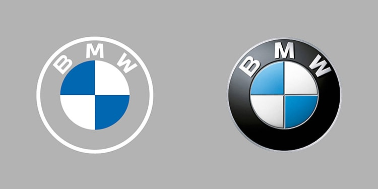 Side by Side BMW logo showing new and old