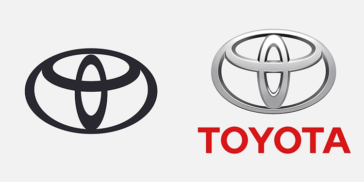 Side by Side Toyota logo showing new and old