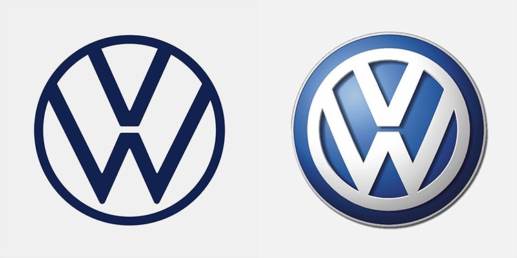 Side by Side Volkswagen logo showing new and old