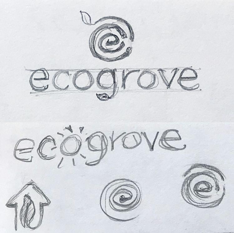 Ecogrove logo design concept sketches