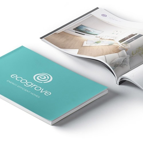Ecogrove spreads and front cover design of ecogrove brochure
