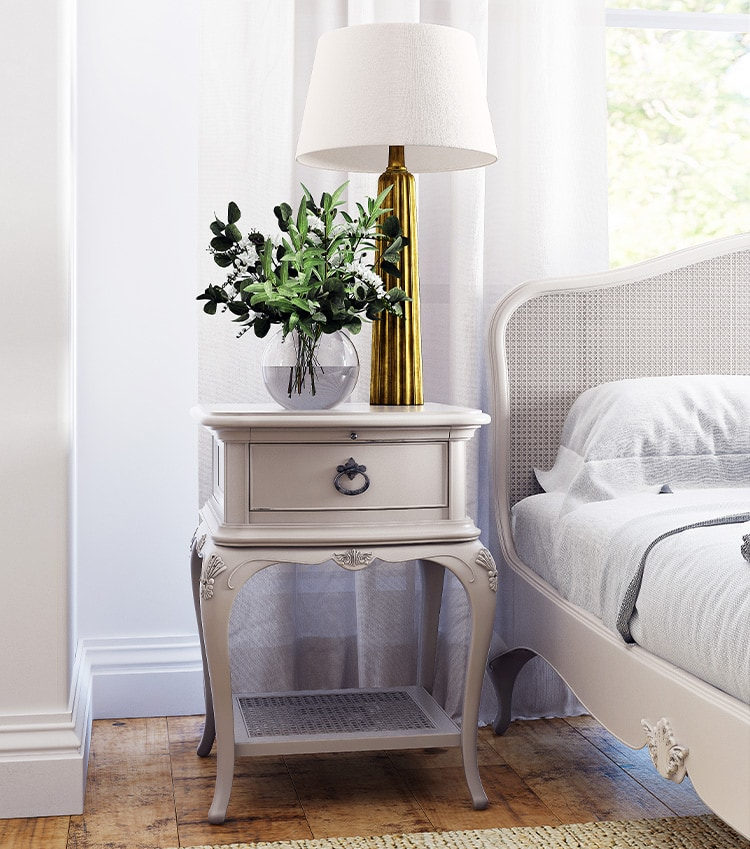 After photo retouching of Bedside table with lamp for Willis & Gambier