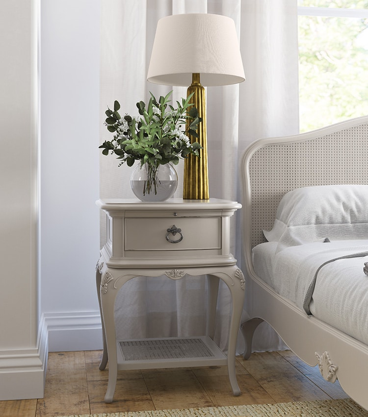 Before photo retouching of Bedside table with lamp for Willis & Gambier