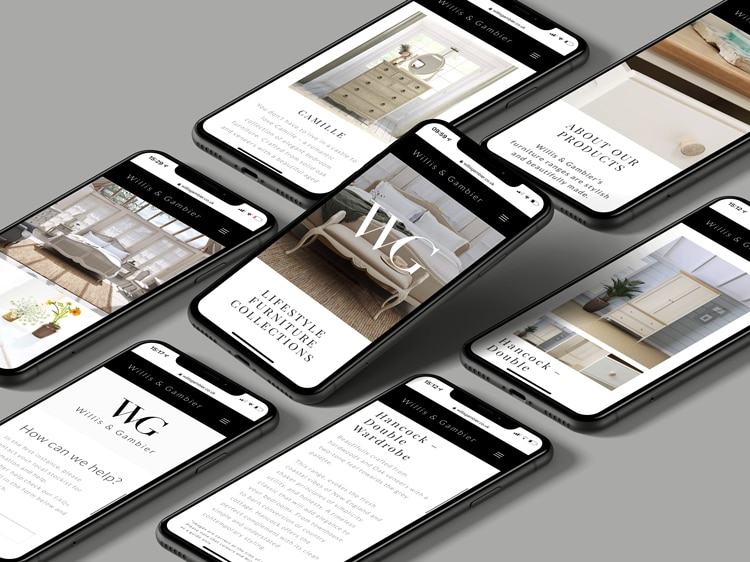 Multiple mobile phones showing different pages of the new responsive Willis & Gambier website