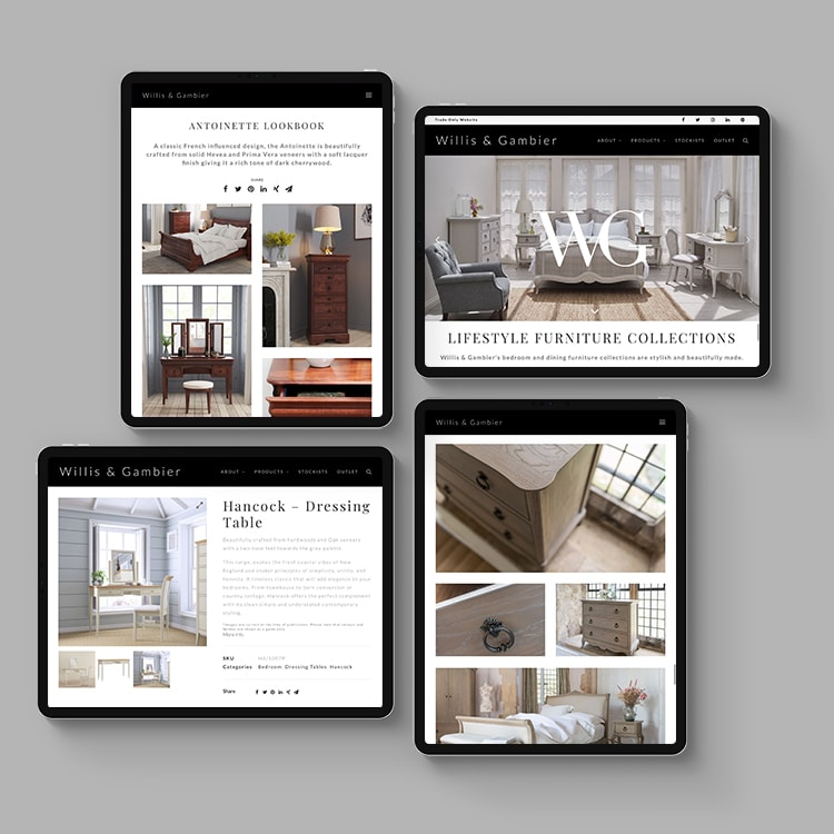 Multiple iPads showing different pages of the new responsive Willis & Gambier website