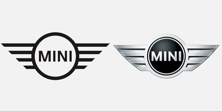 Side by Side Mini logo showing new and old