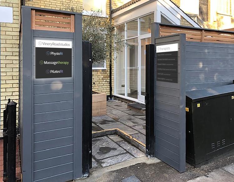 Vinery Road Studios front entrance signage design