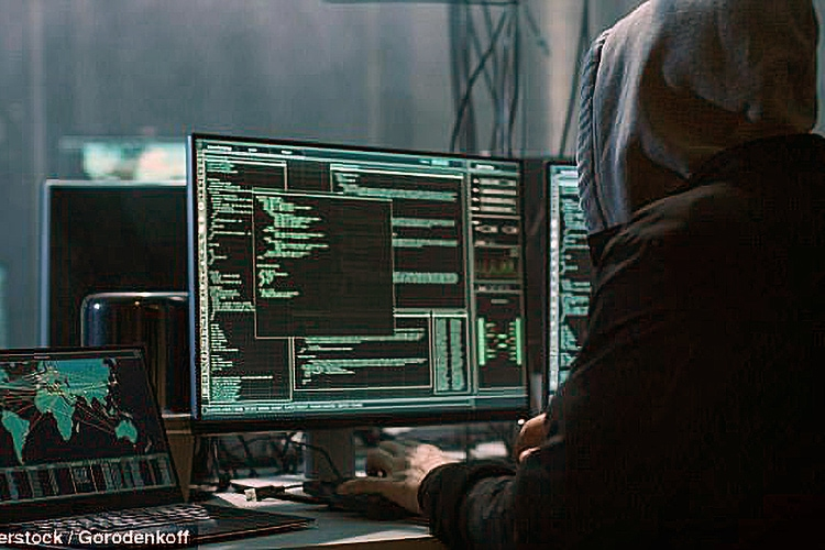 Person coding on computer