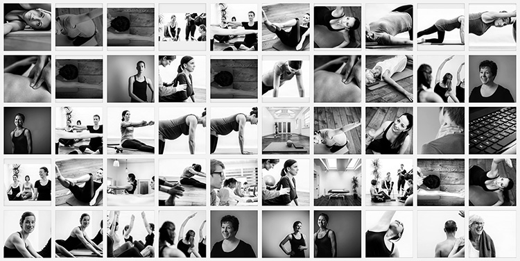 Grid of black and white images showing close-up of people doing yoga