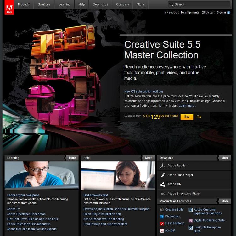 Adobe Widgets website trends 2010