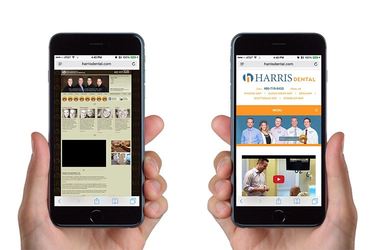 Person holding mobile showing old and new website design