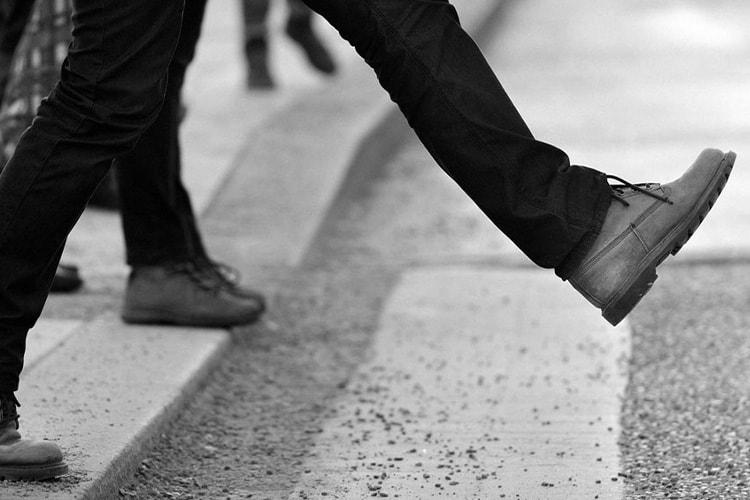 Person walking forward on crossing