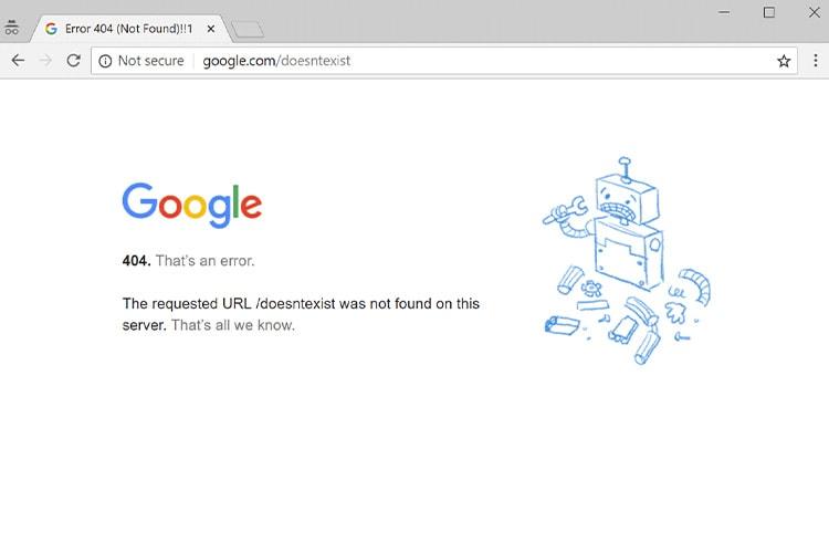 Google error 404 page