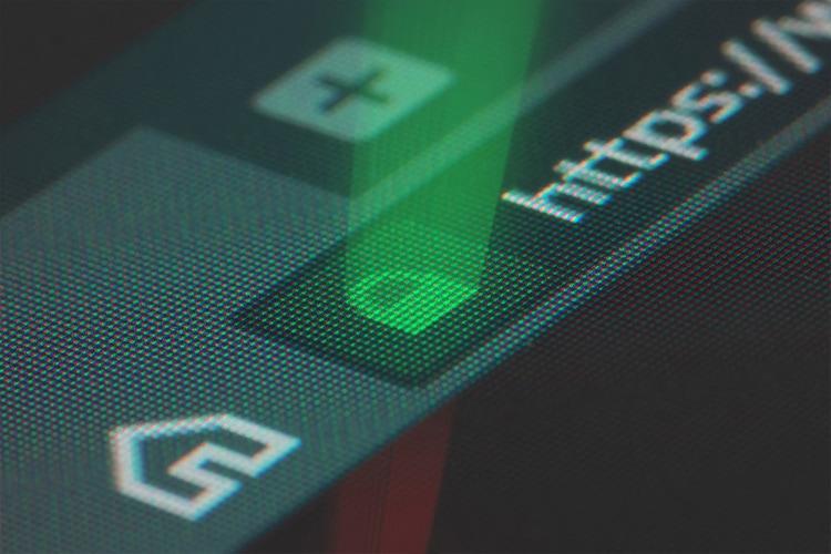 Glowing padlock secure website design ssl