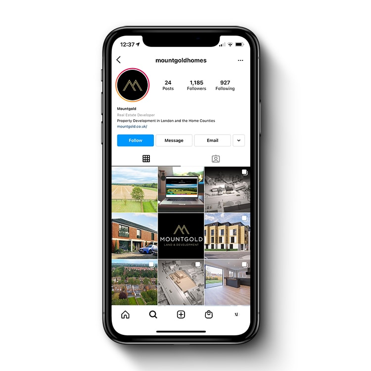 Mobile Phone showing Mountgold Instagram social media page