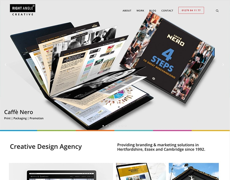 Right Angle Creative new homepage website design