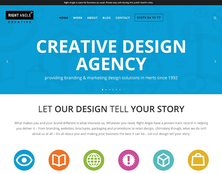 Right Angle Creative old homepage website design