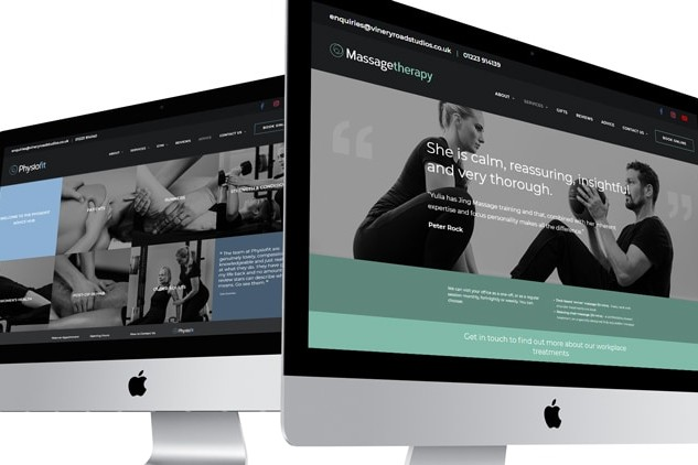 Physio & Cambridge Massage pages shown on Desktop responsive website